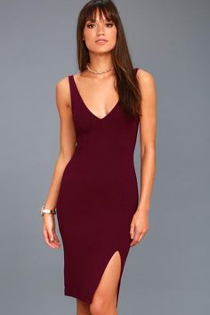a7e1d496c9b2  Lulus -  Lulus Iconic Moment Plum Purple Bodycon Midi Dress - AdoreWe.com