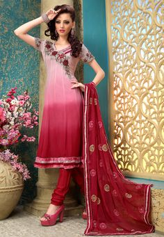 Shaded #Pink Faux #Georgette #Churidar Kameez @ $84.28