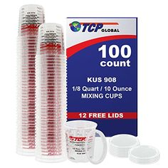 Custom Shop Brand Full Case of 100 Each  12 Pint 8oz Paint Mixing Cups  Cups Have Calibrated Mixing Ratios on Side of Cup BOX of 100 Cups >>> More info could be found at the image url. (Amazon affiliate link)