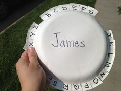 Letter walk: walk around the neighborhood looking for letters on signs or things that begin with that letter, and then fold down tab on the plate. // This would make a great car activity too!