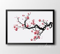 Cherry Blossoms Print Flower Wall decor Japanese by PinkLemonArts