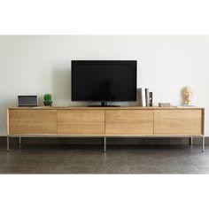 6d7b3a718d3b02 Meuble Tv En Chêne Massif Naturel, 2 Portes Rabattables Et 2 Tiroirs  225x41x50cm Kubico -