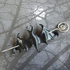 Black leather bat hair slide or shawl pin. Choose spiral wire hairstick or wood stick. Gothic gift f
