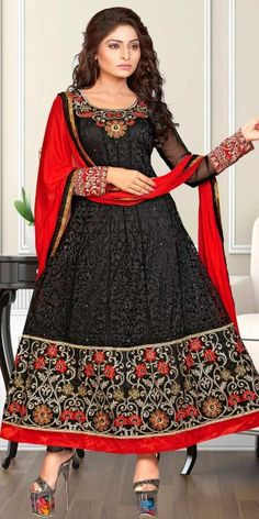 Trendy Black And Red Net Anarkali Suit.