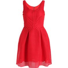 SheIn(sheinside) Red Sleeveless Hollow Striped Flare Dress (€25) ❤ liked on Polyvore