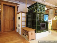 horska kachlova kamna v olivove barve Small Log Cabin, Entryway, Log Cabins, Living Room, Decoration, Heart, Home Decor, Future, Entrance