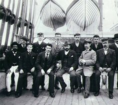 Captain F.H. Henning and the crew of the three-masted ship STRONSA taken on deck, Puget Sound port, Washington, ca. 1904. :: Wilhelm Hester Photographs