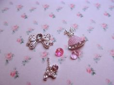 Floating Charms Set-Eiffel Tower Floating Charm-Dress Floating Charm-Bow Floating Charm-Memory Floating Locket-High Fashion Charms-5 pc