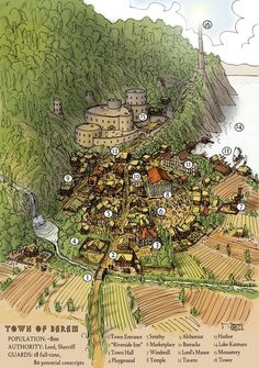 Town Map by Domigorgon coastal map cartography Create your own roleplaying game material w/ RPG Bard: www rpgbard Fantasy city map Fantasy city Fantasy town