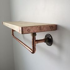 Handcrafted Copper Pipe Shelf With Hanging Rail Industrial/modern/rustic