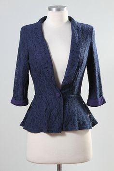 Jade Mackenzie - Navy Fully Lined Lace Blazer, $35.00 (http://www.jademackenzie.com/navy-fully-lined-lace-blazer/)