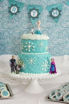 Gorgeous cake at a Frozen girl Birthday Party! See more party ideas at CatchMyParty.com!