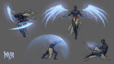 Indigo by Vera Velichko on ArtStation. Fantasy Character Design, Character Design Inspiration, Character Concept, Character Art, Dark Fantasy, Fantasy Art, Magic Design, Weapon Concept Art, Magic Art