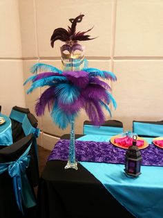 Mask centerpiece done by butterflywishevents