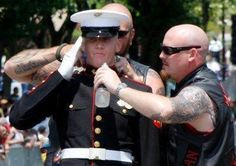 This is cool: These bikers are former Marines. They are hydrating & putting a cold compress on the neck of a proud Marine as he stood in his dress blues in 105* weather, holding his salute for the entire Rolling Thunder event in Washington D.C.