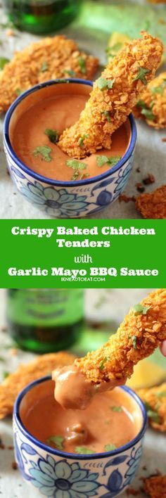 Crispy Baked Chicken Tenders with Garlic Mayo BBQ Sauce