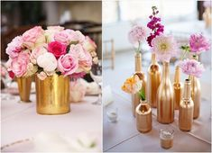 If there is one thing I always wanted in a wedding, it would be the pink and gold color scheme. Pink and gold wedding colors make for a glamorous and romantic wedding; an attractive color combination choice for your . Romantic Wedding Colors, Gold Wedding Colors, Pink And Gold Wedding, Wedding Color Schemes, Gold Centerpieces, Rustic Wedding Centerpieces, Wedding Decorations, Wedding Arrangements, Gold Color Palettes