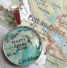 Vintage Map Sterling Silver Round Necklace.  Port-au-Prince Haiti.