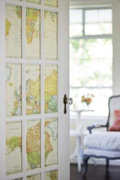 glass door covered in world map. good idea for french doors leading to an office. Sweet Home, Diy Casa, The Doors, Sliding Doors, Wood Doors, Barn Doors, My New Room, French Doors, My Dream Home
