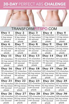 Perfect Abs 30 Day Challenge - One month of workouts to melt belly fat and tone abs! - - Perfect Abs 30 Day Challenge – One month of workouts to melt belly fat and tone abs! Fitness Workouts, Fitness Workout For Women, Fitness Motivation, Yoga Fitness, Ab Workouts, Workout Exercises, Tone Back Exercises, Fitness Quotes, Fitness And Exercise