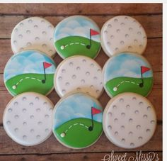 Cookies for a golf event! Thanks to and for the tutorial on the golf balls! Golf Cookies, Fancy Cookies, Iced Cookies, Cupcake Cookies, Sugar Cookies, Cookies Et Biscuits, Cupcakes, Cookie Designs, Cookie Ideas