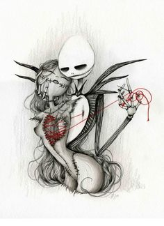 Hommage à Tim Burton || Jack and Sally by Laetitia Lamblin