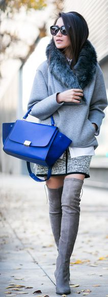 Grey Tweed Midi Skirt. Blue and grey. Over the knee boots. Stylish.