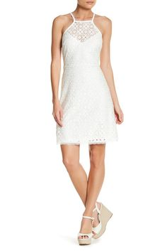 Image of Laundry By Shelli Segal Halter Lace Dress (Petite)
