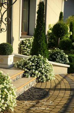 Lecę w kulki...: Przeplatam Front Porch Steps, Front Gates, Front Gate Design, House Front Door, Garden Planters, Yard Landscaping, Sidewalk, Home And Garden, Patio