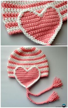 Crochet Valentine Heart Gift Ideas Projects Free Patterns: The list covers love hat, scarf, heart tops, jewelry, blankets and table runner. Crochet Hat Earflap, Crochet Toddler Hat, Crochet Yarn, Irish Crochet, Crochet Shawl, Crochet Butterfly Pattern, Crochet Headband Pattern, Crochet Flower Patterns, Crochet Ideas