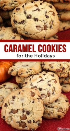 Caramel Cookies for the Holidays! This yummy homemade chocolate chip cookie recipe is a keeper. Your family will beg for more of these cakey cookies chock full of mini chocolate chips and Kraft Caramel Bits. Homemade Chocolate Chips, Homemade Chocolate Chip Cookies, Chocolate Caramel Cookies, White Chocolate, Chocolate Cake, Japanese Sweets, Holiday Baking, Christmas Baking, Christmas Parties