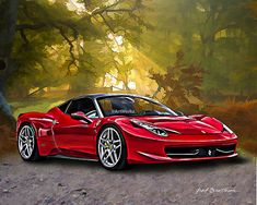 Supercar Print  Ferrari 458  Sports Car Print   8x10 by ArtWorkz, $20.00