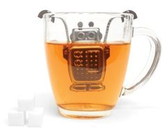 $5.58 - Amazon.com: Kikkerland Robot Tea Infuser and Drip Tray: Kitchen & Dining.  OH, teh terrible cuteness of it!