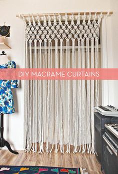 Add a touch of bohemian chic to your decor with these DIY macrame curtains! They're a great addition to door-less closets, hallways, or even just hung as wall art. Those cool kids at A Beautiful Mess have all the details on how to make your own, including easy to follow, step-by-step photos of the macrame knotting process.