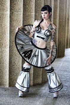 Space Cadet Judy Jetson Sexy Retro Sci-Fi Barbarella Halloween Costume Disk Skirt Leggings Bullet Bra and Panties Custom Size