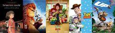 Melhores filmes de animação infantil 1-5 - A Viagem de Chihiro, O Rei Leão, Toy Story 3, Toy Story, Up: Altas Aventuras