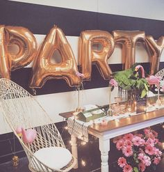 """{Throw a PARTY!} We think Letter Balloons are Party Must-Haves! Find letter balloons in gold or silver in our shop! 💕photo via source unknown…"" Party Knaller, Ballon Party, Festa Party, Party Time, Posh Party, Sweet 16 Parties, Holiday Parties, Letter Balloons, Number Balloons"
