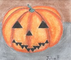 Draw a pumpkin decoration for Halloween with crayons.