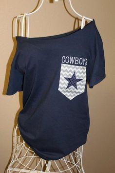 Dallas Cowboys Pocket Off-the-Shoulder Shirt Chevron 2894862af