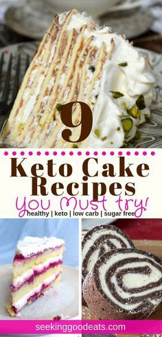 Low Carb and Keto Cake Recipes, Desserts, You can be on a diet and eat your cake too! These 9 delicious and easy low carb and keto cake recipes are perfect whether you're on a low carb diet,. Keto Cake, Keto Cheesecake, Healthy Cake Recipes, Gourmet Recipes, Dessert Recipes, Dinner Recipes, Restaurant Recipes, Dinner Ideas, Cooking Recipes