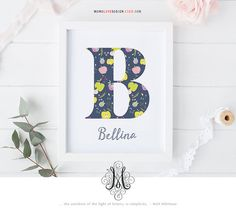 Baby Girl Name Initial Art Design Wall Art by MonoLoveDesign