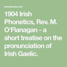 O'Flanagan - a short treatise on the pronunciation of Irish Gaelic. Irish Language, Old Irish, Prepositions, Good Advice, Told You So, Lion, Learning, Leo