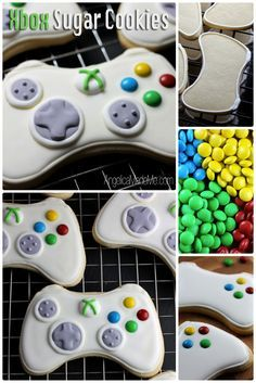 xbox Homemade Xbox Controller Sugar Cookies for Jimmy Iced Cookies, Cute Cookies, Royal Icing Cookies, Cupcake Cookies, Sugar Cookies, Bolo Xbox, Xbox Cake, Xbox Controller, Cookie Designs
