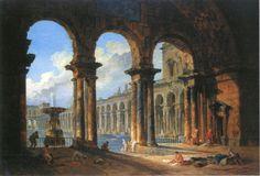 Hubert Robert(ユベール・ロベール), 古代ローマの公衆浴場跡(1798)