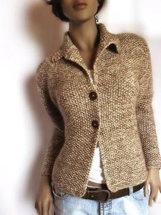 Womens Hand knit Jacket Merino wool sweater Mohair cardigan This is one very nice jacket hand knitted by me.It is like blazer or tailored jacket. Merino Wool Sweater, Wool Sweaters, Alpaca Wool, Knit Jacket, Knit Cardigan, Sweater Jacket, Jacket Pattern, Knit Patterns, Crochet Clothes