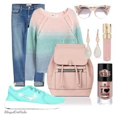 """""""hues of blues and rose"""" by susan-denton on Polyvore featuring Frame, Accessorize, Jimmy Choo, Smith & Cult and Monica Vinader"""