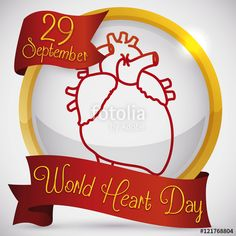 Vector: Golden Round Button and Ribbons to Celebrate World Heart Day, Vector Illustration