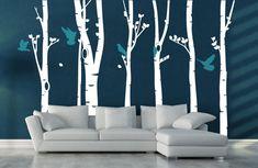 Birch Tree Forest WAS 8499 Vinyl Wall Sticker by Vinylimpression, Bird Wall Decals, Tree Decals, Vinyl Wall Stickers, Wall Art, Wall Vinyl, Wall Murals, Ideal Home Magazine, Tree Forest, Birch Forest