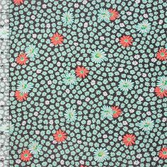 Mint Coral Daisy on Gray Cotton Jersey Blend Knit Fabric