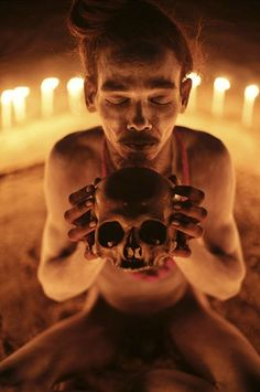 The Aghori are avery rare sect of Naga Sadhu .naked holy men. who are known for meditating on human corpses, covering themselves in ashes of the dead, eating flesh and drinking out of skulls.
